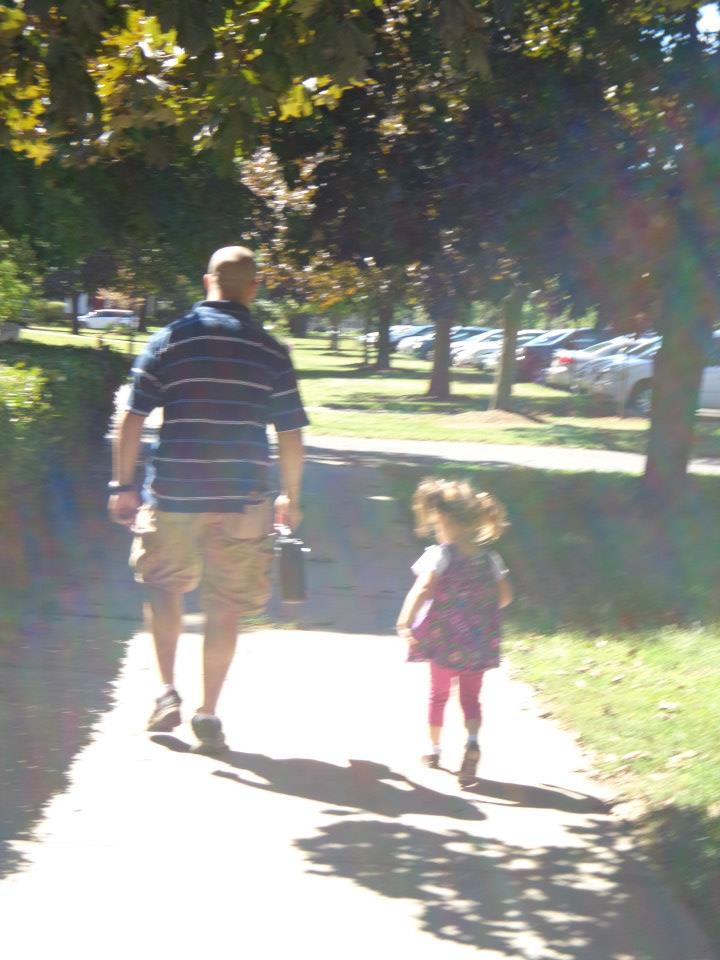 school walk with dad