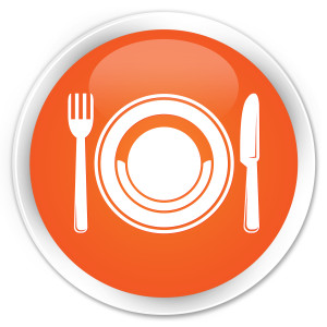 Food plate icon orange glossy round button
