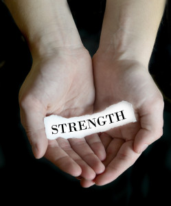 Hands Holding Paper Message Strength